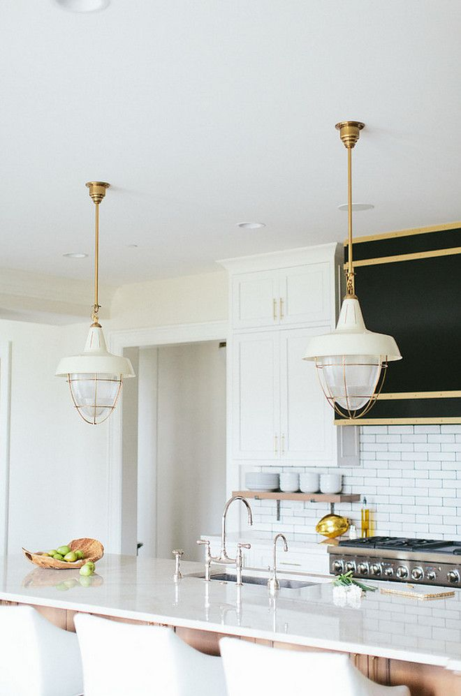 Thomas O' Brien Henry Industrial Hanging Light Pendant in Hand-Rubbed Antique Brass. #HenryIndustrialHangingLightPendant #HenryIndustrialPendants #HenryIndustrialLighting Kate Marker Interiors.