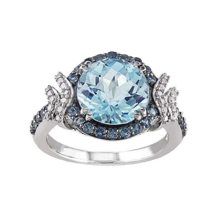 Sky Blue Topaz, London Blue Topaz & 1/8 Carat T.W. Diamond Sterling Silver Halo Ring, Women's, Size: 5
