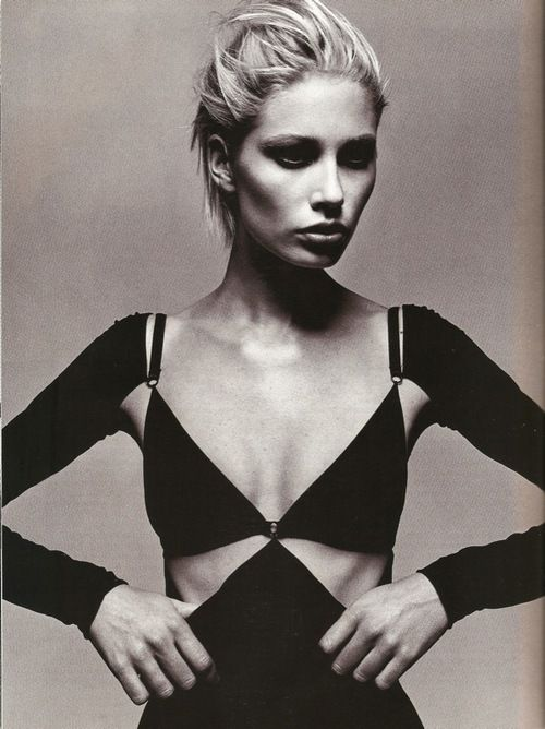 Kirsty Hume in Isaac Mizrahi shot by Michael Thompson for Harper's Bazaar February 1997   Fashion Editor Elissa Santisi   Hair Serge Normant   Make-up Dick Page.