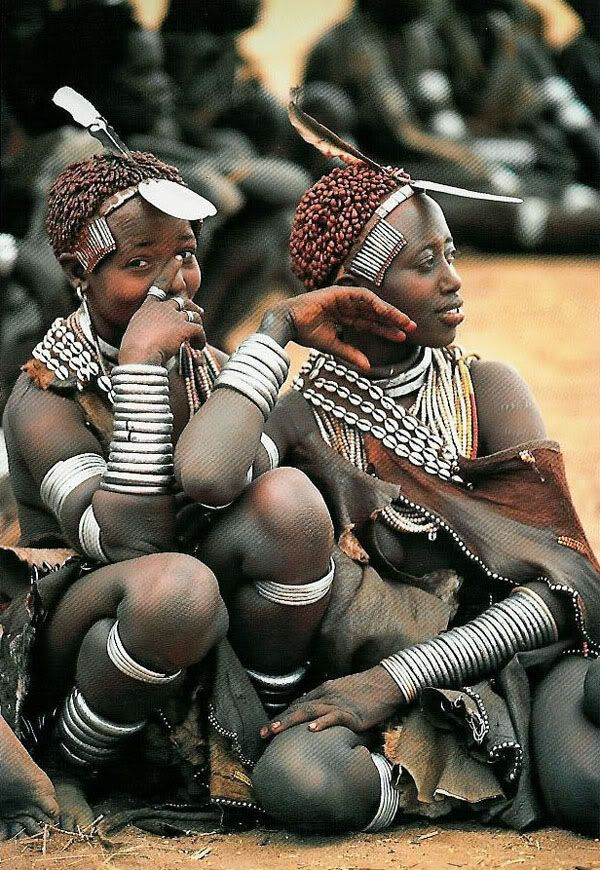 Africa |  Hamar Women, Ethiopia | Postcard image from  the work of Carol Beckwith and Angela Fisher in a study of the women of the Horn of Africa, Ethiopia and the surrounding countries.