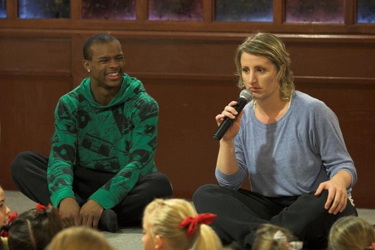 Choreographer Mandy Moore talking to kids at convention.  www.elitekidsusa.com