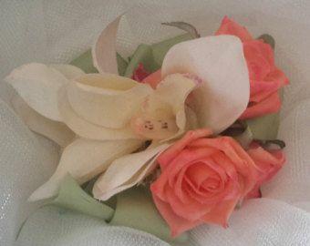 Orquídea y Rose Corsage ramillete de orquídeas, ramillete de rosas, ramillete de la muñeca, ramillete de la muñeca de la cinta, ramillete de melocotón y verde, tacto Real flores ramillete