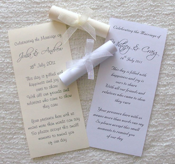 50 Personalised Wedding Favour Favor Scrolls Invitation with Ribbon | eBay