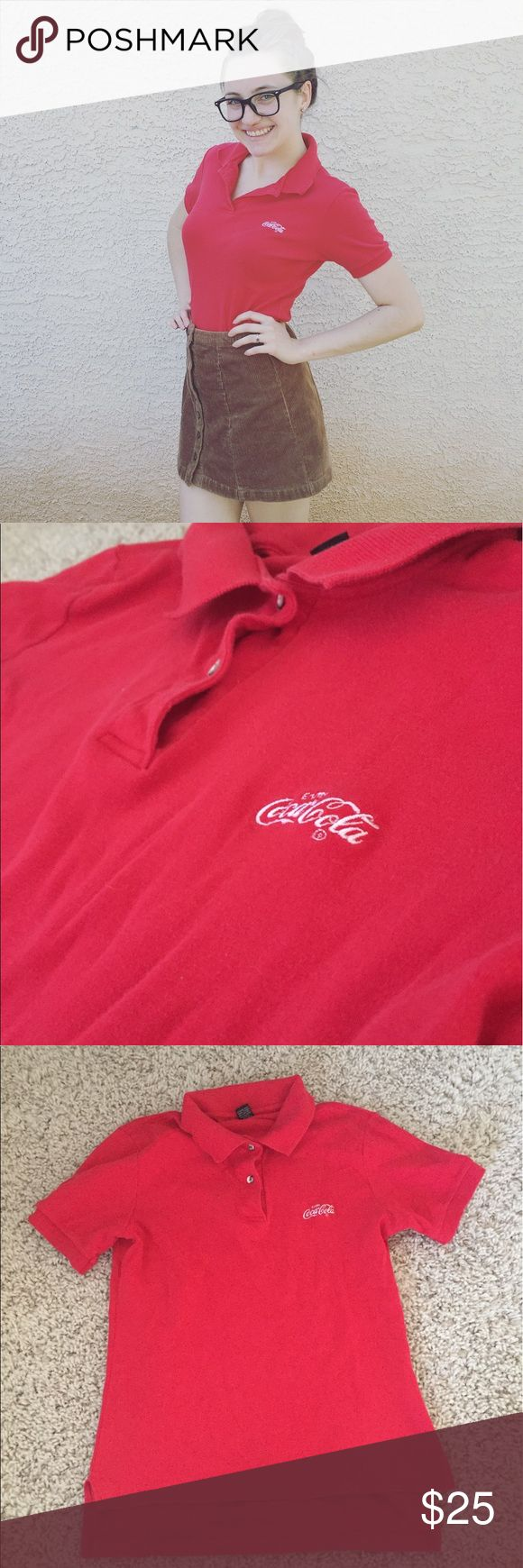 🆕 vintage Coca Cola polo shirt Size says large but fits more like a small or medium. Red Coca Cola polo shirts. Brand is Coca Cola Vintage Tops