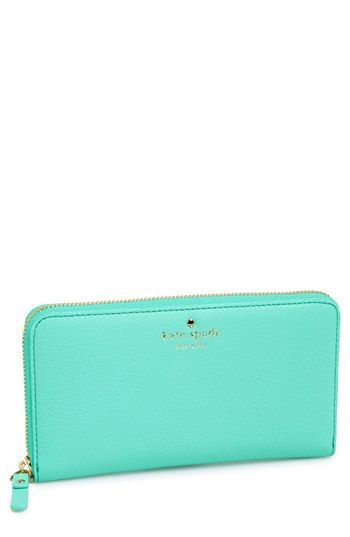 """kate spade new york 'cobble hill - lacey' zip around wallet in """"fresh air"""" available at #Nordstrom"""