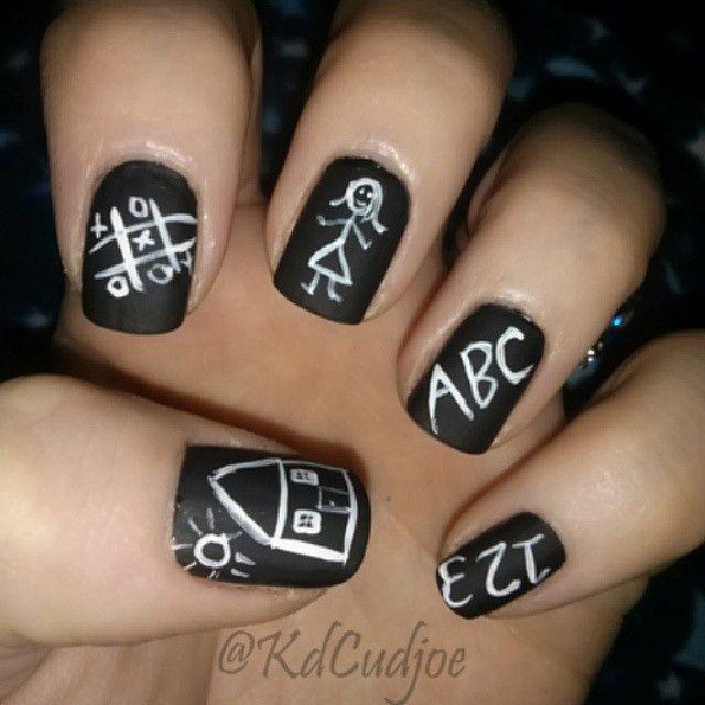 Chalkboard school teacher nail art