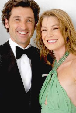 Patrick Dempsey and Ellen Pompeo Look at them cheesin' lol love it!