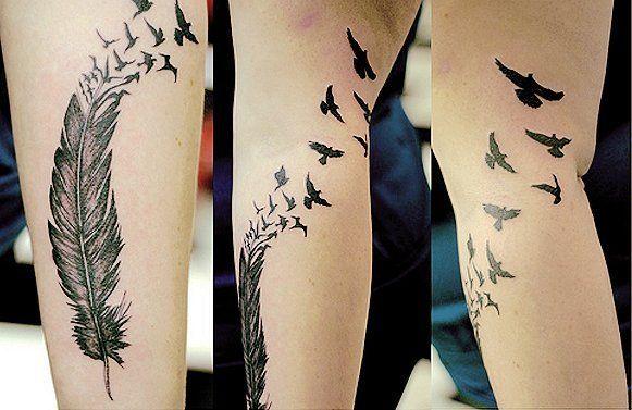 помогите найти эскизы или фотографии татуировки где перо перевоплащается в птиц