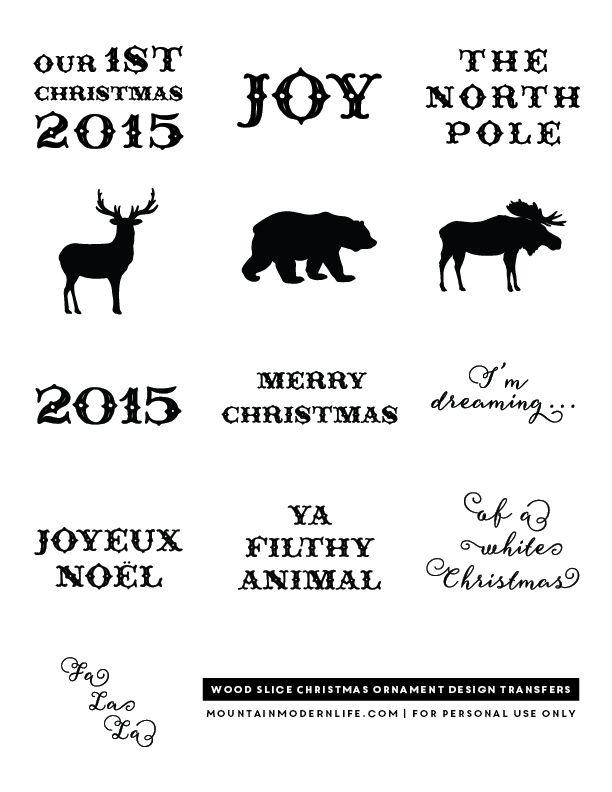 Voyez comment il est facile de créer ces cabane rustique Inspiré décorations de Noël à partir de tranches de bois.  Plus Telecharger les dessins gratuits à imprimer à utiliser sur vos propres ornements de vacances.  mountainmodernlife.com