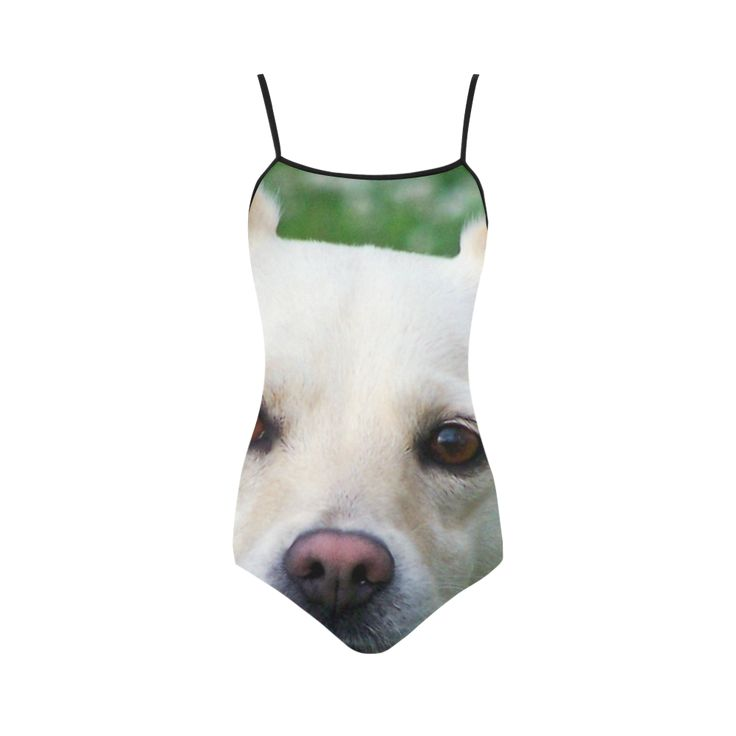 Dog face close-up Strap Swimsuit.