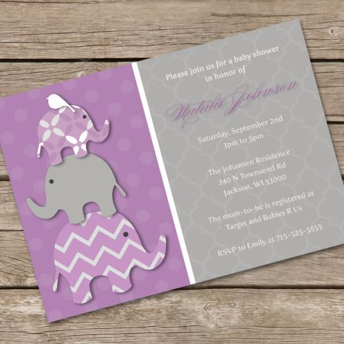 Lavender Baby Shower Invitations