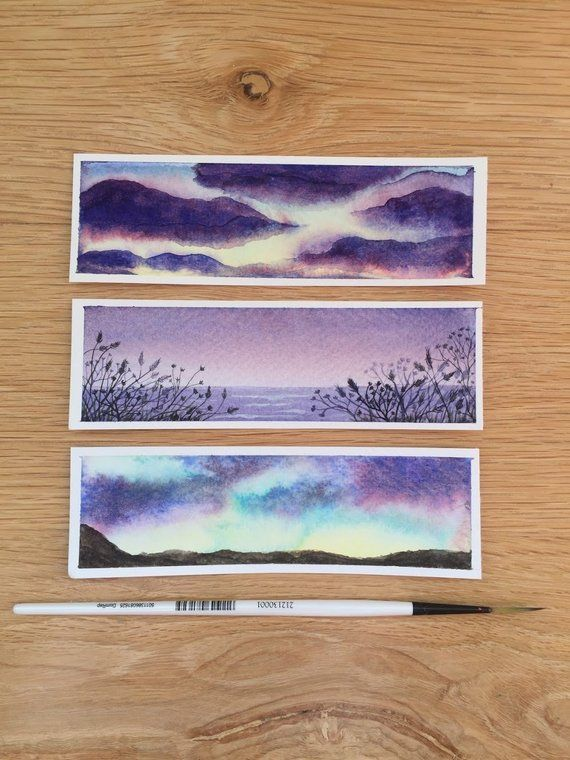 Watercolour Bookmarks Hand Painted Hand Painting Art Art