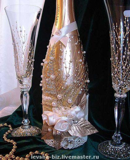 Свадебные аксессуары ручной работы. Ярмарка Мастеров - ручная работа. Купить Свадебное шампанское. Handmade. Свадебные аксессуары, краска по стеклу