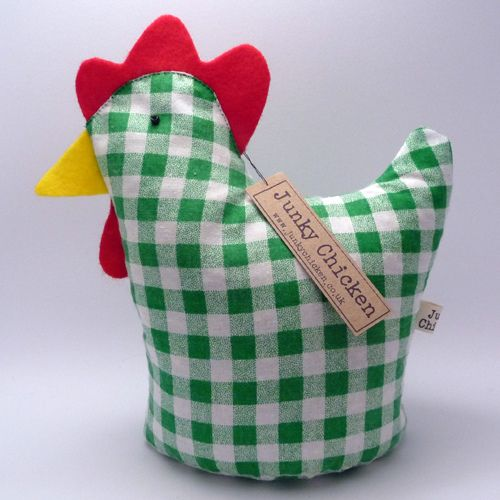 Alice is a chicken doorstop made from a piece of upcycled green gingham.