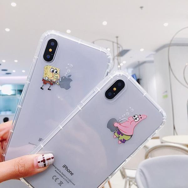 Cute Airbag Best Friend Funny Cartoon Spongebob Stars Transparent Tpu Soft Cover Case For Iphone 6 6s 6plus 7 8 Plus X Xs Max Xr In 2020 Bff Phone Cases Iphone