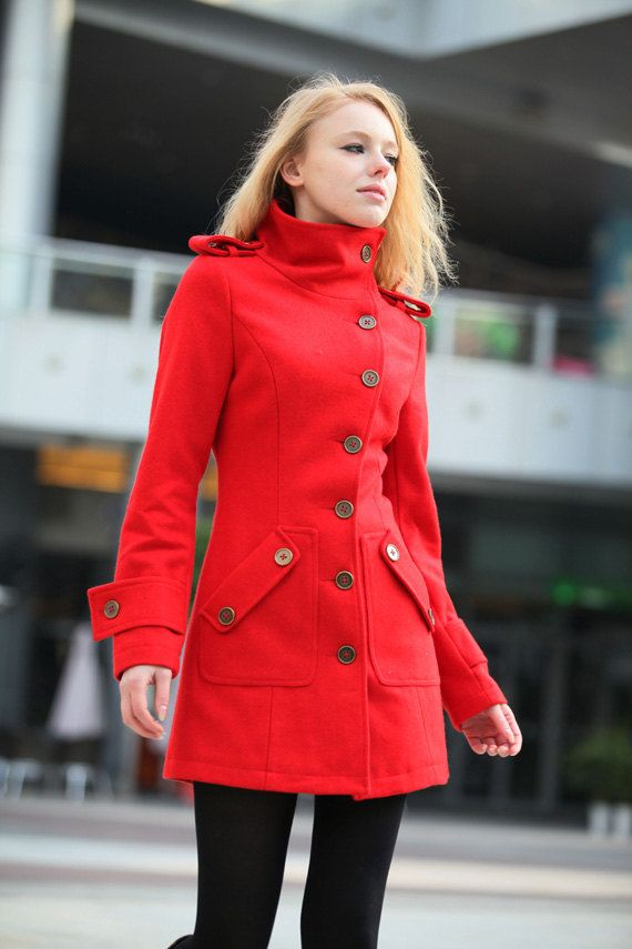 Red Cashmere Coat Fitted Military Style Wool by ...