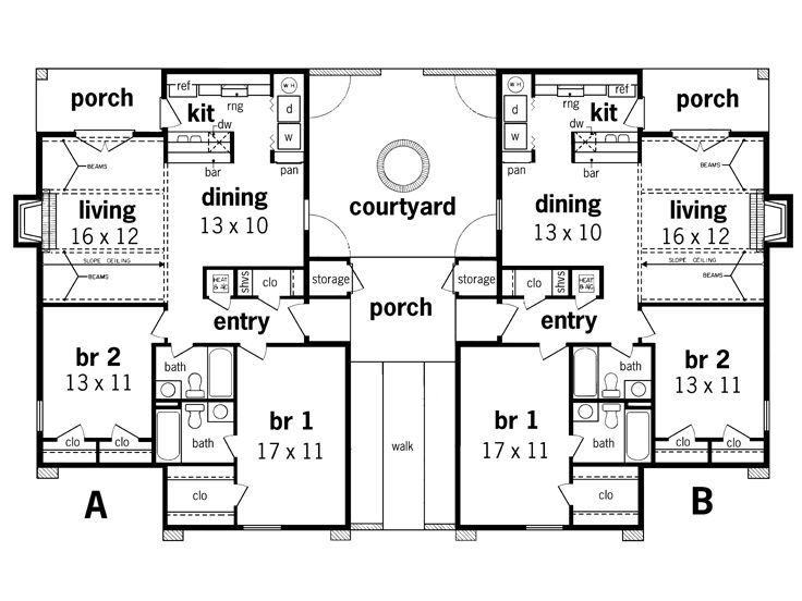 Multi Family House Plans main floor plan 2 for d 441 multifamily house plans reverse living house plans Multi Family House Plan