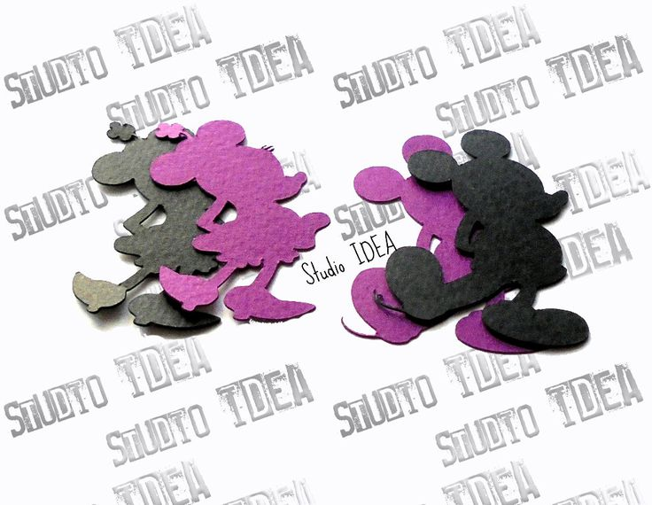 """Black - Purple Mickey & Minnie Silhouette 2"""", 4"""" Cut outs - Set of  30pcs, 60pcs- or Choose Your Colors by StudioIdea on Etsy"""