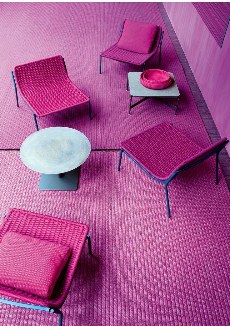Bold purple patio furniture.