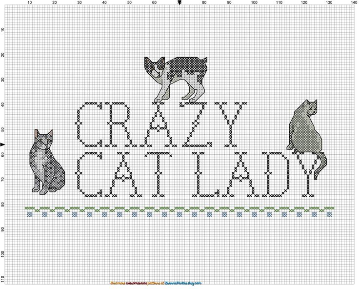 Crazy cat lady FREE cross stitch pattern from http://granniepanties.etsy.com