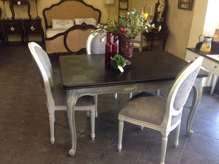 Lovely french grey dining table with leafs and Louis XVI dining chairs