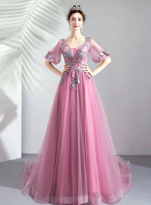 82f2f92fd Silhouette a-line Hemline floor length Neckline v-neck Fabric tulle Shown  Color pink Sleeve Style puff sleeve Back Style lace up Embellishment  appliques