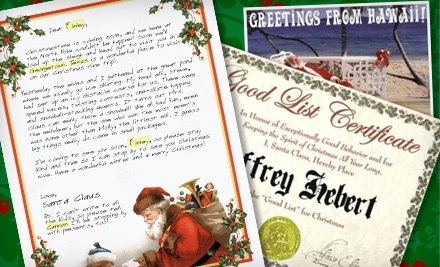 Certificate birthday card on birthday and postcard from santa on