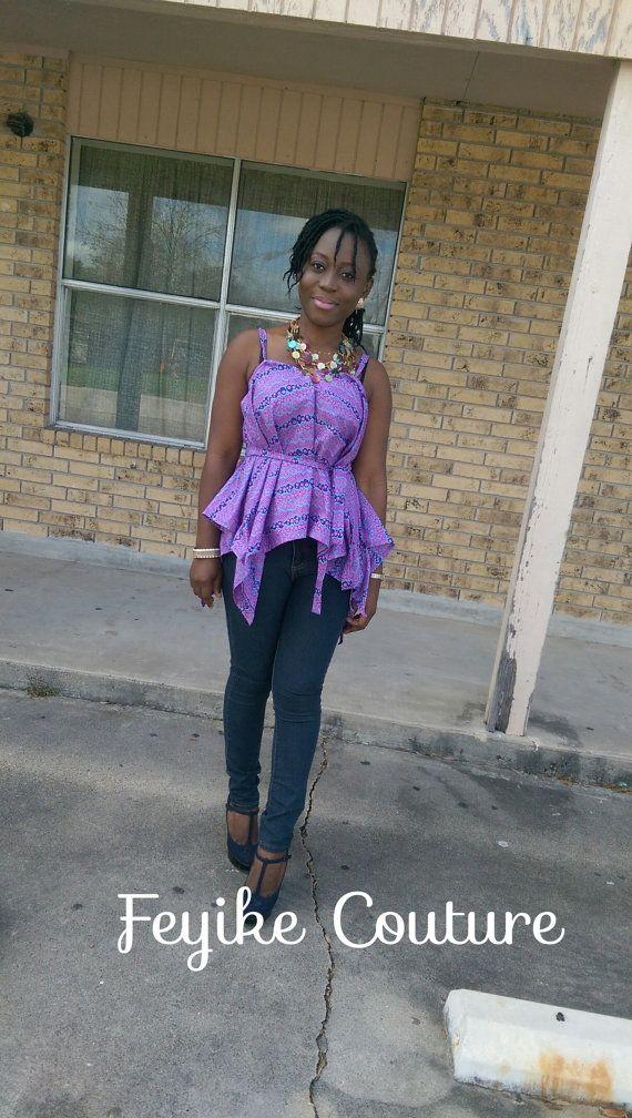 Afrikaanse kleding Afrikaanse Print tuniek top. door FeyikeCouture