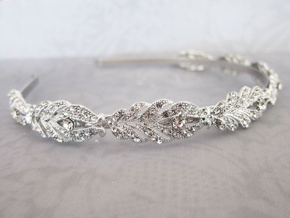 Vintage Style Crystal Headband, Gold Silver Wedding Headband, Vintage Thin Hairband, Rhinestone Wedding Head band, Bridal Hairband - 'GIA'