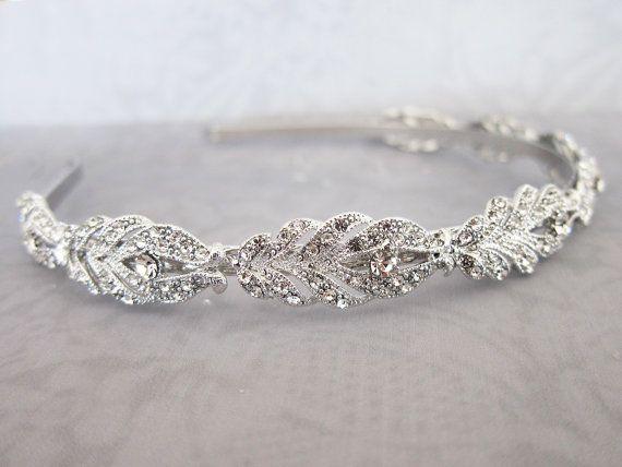 Vintage Style Crystal Headband, Gold Silver Wedding Headband, Vintage Thin Hairband, Rhinestone Wedding Head band, Bridal Hairband - 'GIA'