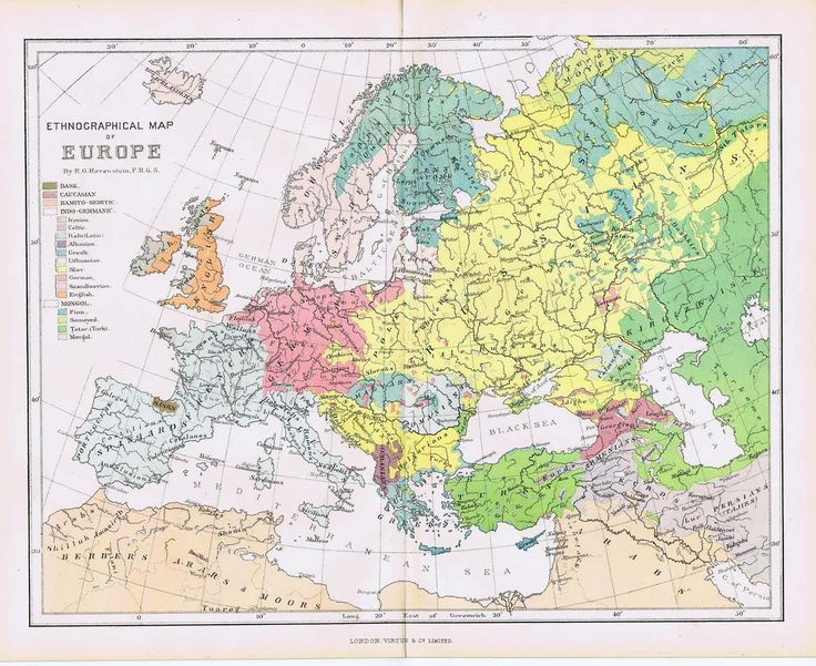 Map of Russia 1880   1880 Ethnographic Map Of Europe   my ...