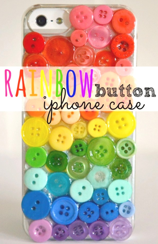 DiY rainbow button iPhone case.  This is so cool!  Make a custom iPhone cover using an inexpensive clear plastic case & some spare buttons.