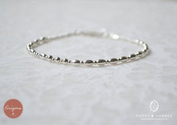 Custom secret message bracelet sterling silver by PoppyandHobbes