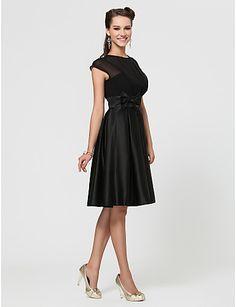vestido de dama de honra uma linha de jóias na altura do joelho chiffon e cetim com arco (s) - BRL R$ 234,23