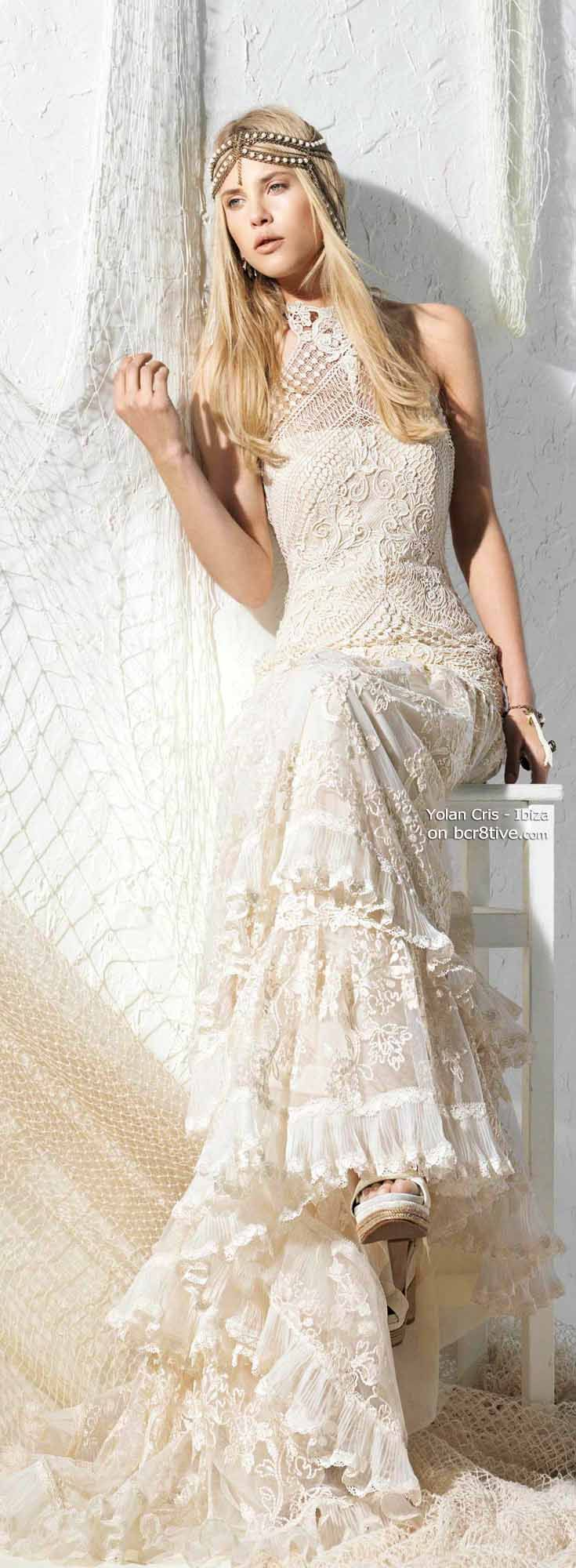 Yolan Cris Bridal Designs 2013 are all unique & gorgeous but I especially like these Bohemian Chic Styles full of crochet, lace & fishnet