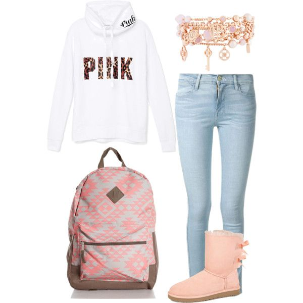 A fashion look from August 2015 featuring Victoria's Secret PINK tops, Frame Denim jeans and UGG Australia boots. Browse and shop related looks.