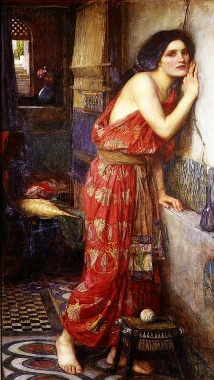 Thisbe by John William Waterhouse (1909) ~ Thisbe, a maiden of Babylon, was forbidden by her parents to marry her beloved Pyramus. The two lovers defied their families by exchanging vows through a chink in the wall which divided their houses.