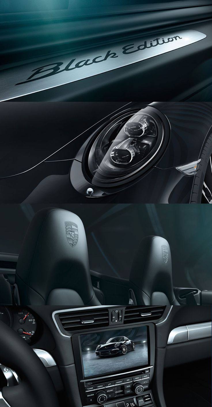 The new Porsche Black Edition models: Door sill guards with 'Black Edition' logo, LED main headlights including Porsche Dynamic Light System Plus (PDLS+), Sports seats with embossed Porsche Crest on the headrests, SportDesign steering wheel.  *Combined fuel consumption in accordance with EU 6 - Boxster Black Edition: 8.4 -7.9 l/100 km; CO2 emissions 195-183 g/km. 911 Carrera Black Edition models: 9.5-8.2 l/100 km; CO2 emissions: 223-191 g/km