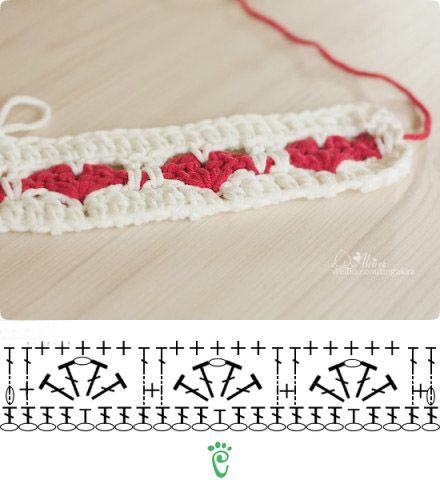 Marca página Corações #crochê #corações #CoatsCorrente #artesanato