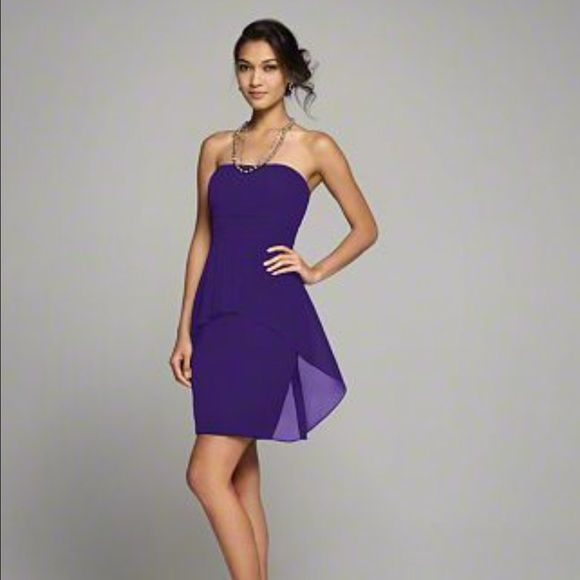 Alfred Angelo Eggplant Dress #7259 Peplum Detail Knee Length Bridesmaid Dress. Only worn once for a wedding.  Sassy and sophisticated, this short designer bridesmaid gown is crafted into a chic sheath silhouette. A fashionable chiffon peplum detail on the cocktail skirt lends glamor.  FEATURES   Chiffon Strapless, Straight Neckline Optional Spaghetti Straps Natural Waist Peplum Detail on Skirt Cocktail Length Sheath Silhouette Alfred Angelo Dresses Mini