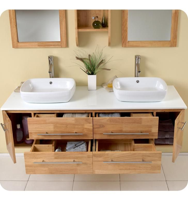 Bathroom Timber Wood Floating Vanity Design With Double Ceramic Sink And Two Mirror