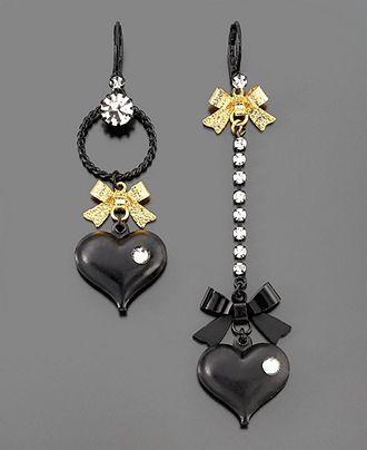 Betsey Johnson Earrings, Asymmetrical Black Heart - Fashion Jewelry - Jewelry & Watches - Macy's