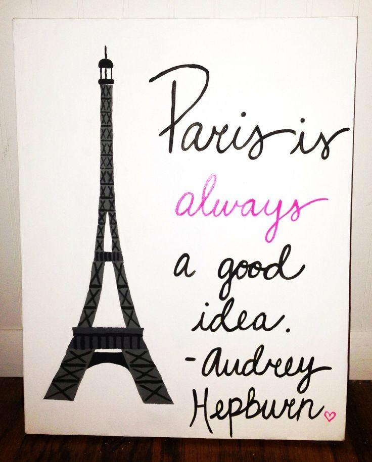 Original Canvas Painting  Paris  Audrey Hepburn by JordansCanvas, $24.00