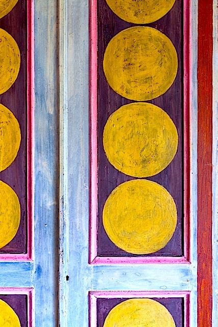 Vanessa Bell Cupboard door at Charleston House in Brighton. OK so not a front door but undeniably funky and it was Vanessa Bell's door.