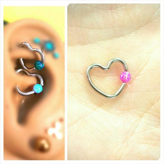 Gevangenschap donker roze Magenta Opal hart kraakbeen Tragus anti-Tragus knus Helix Daith toren 8 mm 10 mm 16 g Earring Piercing sieraden chirurgisch staal