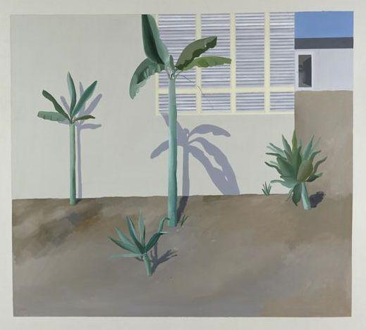 David Hockney (Ang. 1937), Jardin à Hollywood, 1966, peinture acrylique, peinture sur toile, 18,3 x 18,3 cm, Allemagne, Hambourg, Kunsthalle