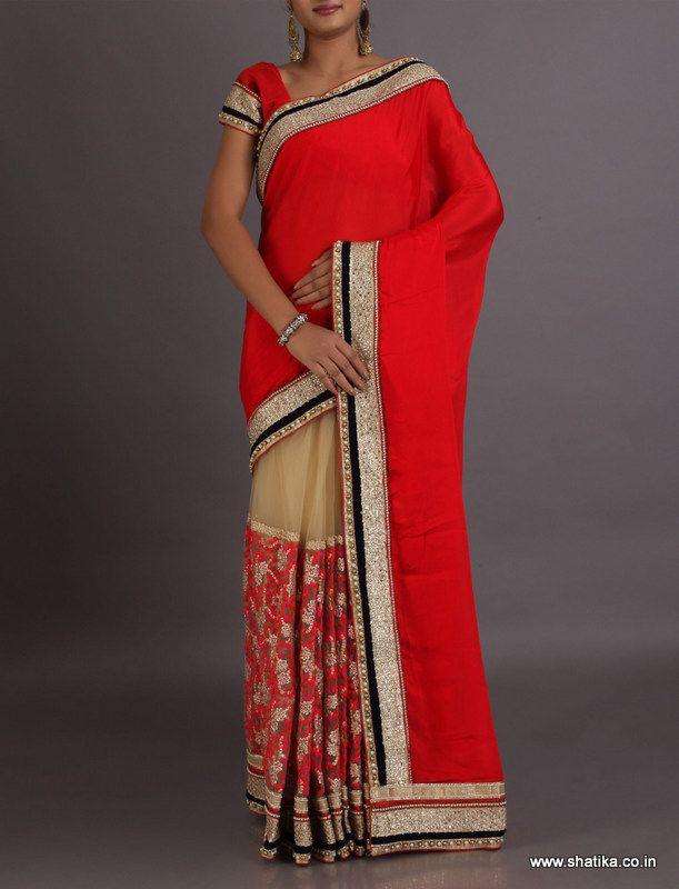 Maya With Ravishing Plain Pallu Patch Border #DesignerLehengaSaree