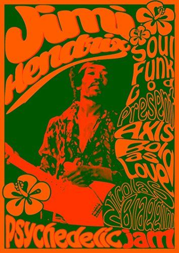 """The Jimi Hendrix Experience - Psychedelic Jam."" Fantastic A4 Glossy Art Print Taken from A Vintage Concert Poster by Design Artist http://www.amazon.co.uk/dp/B0155VT6DU/ref=cm_sw_r_pi_dp_Hap8vb19NW1A8"