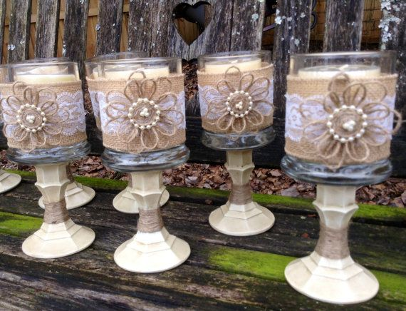 Shabby Chic Wedding Centerpiece / Country Chic by DaisyDazeDesign