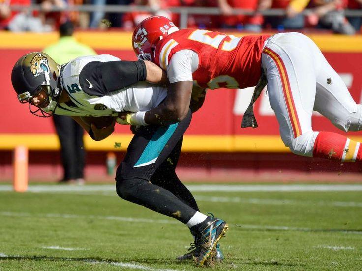 Jaguars vs. Chiefs  -  19-14, Chiefs  -  November 6, 2016  -    Kansas City Chiefs linebacker Dee Ford, right, sacks Jacksonville Jaguars quarterback Blake Bortles (5) during the first half of an NFL football game in Kansas City, Mo., Sunday, Nov. 6, 2016.